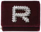 Rochas Velvet & Leather Bag W/ Crystal Logo