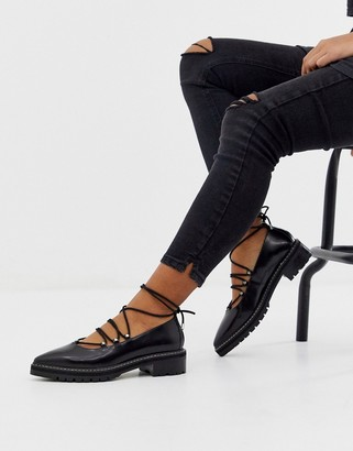 Asos Design DESIGN Mahiki premium pointed leather flat shoes in black
