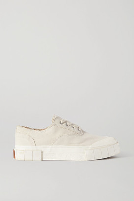 Good News Net Sustain Space For Giants Frayed Organic Cotton-canvas Sneakers - Beige