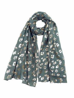 Claudia&Jason Claudia & Jason Ladies Leopard Scarf Rose Gold Glitter Foil Leopards Animal Print Ladies Party Casual Fashion Wrap (Grey)