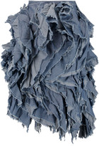 Marques Almeida Marques' Almeida Frayed ruffled denim wrap skirt