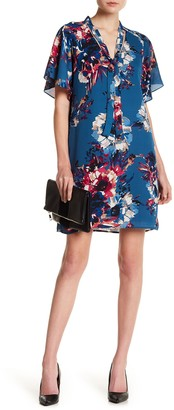 Charles Henry Floral Neck Tie Shift Dress