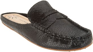 Isaac Mizrahi Live! Snake Embossed Leather Mule Moccasins