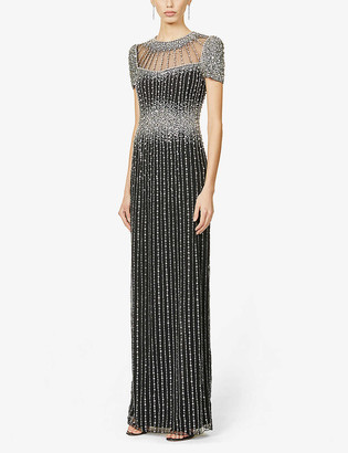 Jenny Packham Delilah sequin and jewel embellished crepe gown
