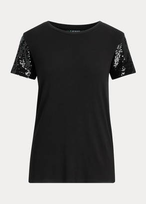 Ralph Lauren Jersey Sequin-Sleeve Shirt
