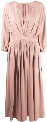 No.21 V-neck pleated midi-dress
