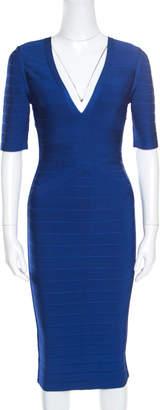 Herve Leger Cobalt Blue Plunge Neck Cybil Bandage Dress S