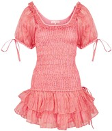 LoveShackFancy Violet Pink Shirred Silk Mini Dress