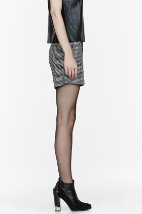 Theyskens' Theory Black houndstooth Footh Pastil Shorts
