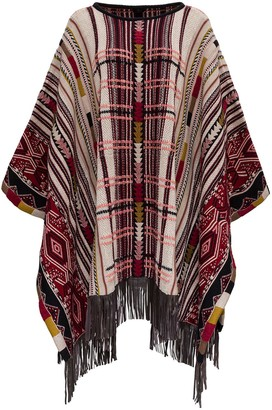 Etro Graphic Pattern Fringed Knitted Poncho