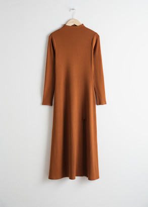 And other stories Ribbed Mock Neck Maxi Dress