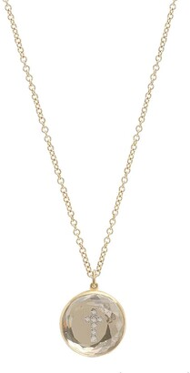 Noush 14kt yellow gold Hidden Treasure diamond cross quartz necklace