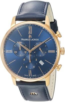 Maurice Lacroix Men's 'Eliros' Quartz Gold and Leather Casual Watch Color:Blue (Model: EL1098-PVP01-411-1)