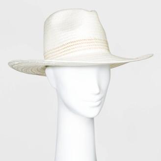 Universal Thread Women' traw Wide Brim Fedora Hat - Univeral ThreadTM White