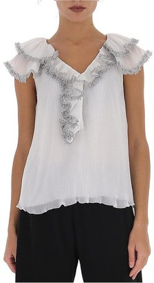 See by Chloe Pleated Ruffle Detail Top
