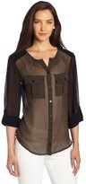 Sanctuary Women's Color Block Blouse