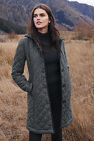 Classic Women's Petite Fleece Lined Quilted Wool Coat-Charcoal Heather