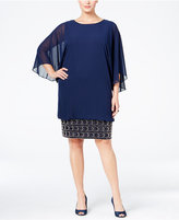 MSK Plus Size Batwing-Sleeve Beaded Shift Dress