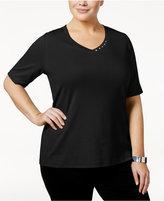 Karen Scott Plus Size Cotton V-Neck T-Shirt, Only at Macy's