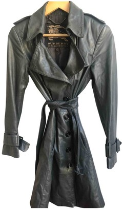 Burberry Green Leather Trench Coat for Women