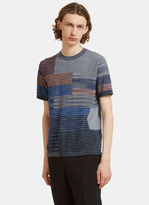 Missoni Square Striped Knit T-shirt In Blue