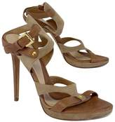 Herve Leger Tan & Khaki Leather Strappy Sandal Heels