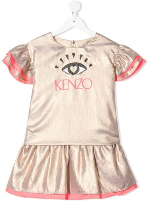 Kenzo Kids lame Eye logo ruffled dress