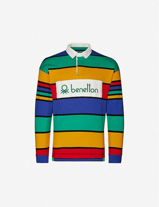 Benetton Striped brand-patch cotton-jersey polo top