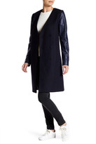 Theory Quennel Leather Sleeve Wool Blend Coat