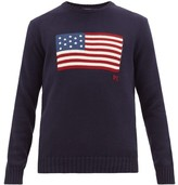 Polo Ralph Lauren Jacquard-american Flag Cotton Sweater - Mens - Navy