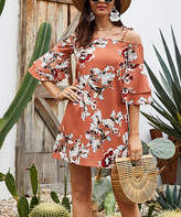 Belle De Jour Belle de Jour Women's Casual Dresses Orange - Orange Floral Tiered-Sleeve Cutout Shift Dress - Women