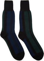Sacai Navy & Green Striped Socks
