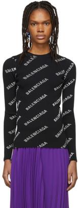 Balenciaga Black All Over Logo Sweater
