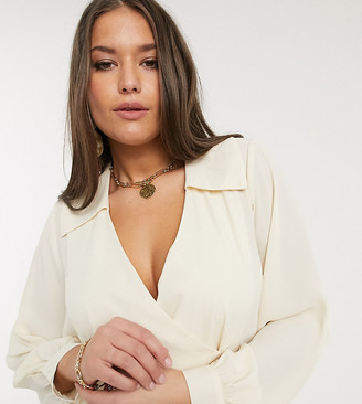 Vero Moda Curve wrap blouse with collar detail in cream