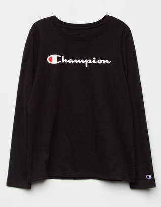 Champion Logo Black Girls Tee