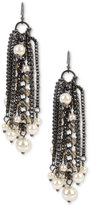 INC International Concepts Hematite-Tone Imitation Pearl Fringe Drop Earrings, Only at Macy's