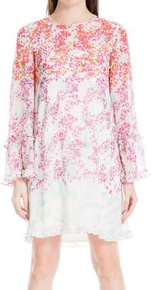 Max Studio Women's Casual Dresses SKYMAGBS - Sky & Magenta Ombre Floral Ruffle-Trim Shift Dress - Women