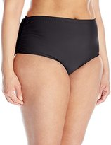 Athena Women's Plus-Size Cabana Solids Mid-waist Shirred Side Bikini Bottom