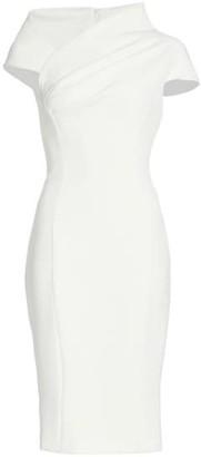 Badgley Mischka Crepe Asymmetrical Cap-Sleeve Dress