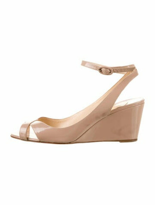 Christian Louboutin Patent Leather Wedge Sandals Tan