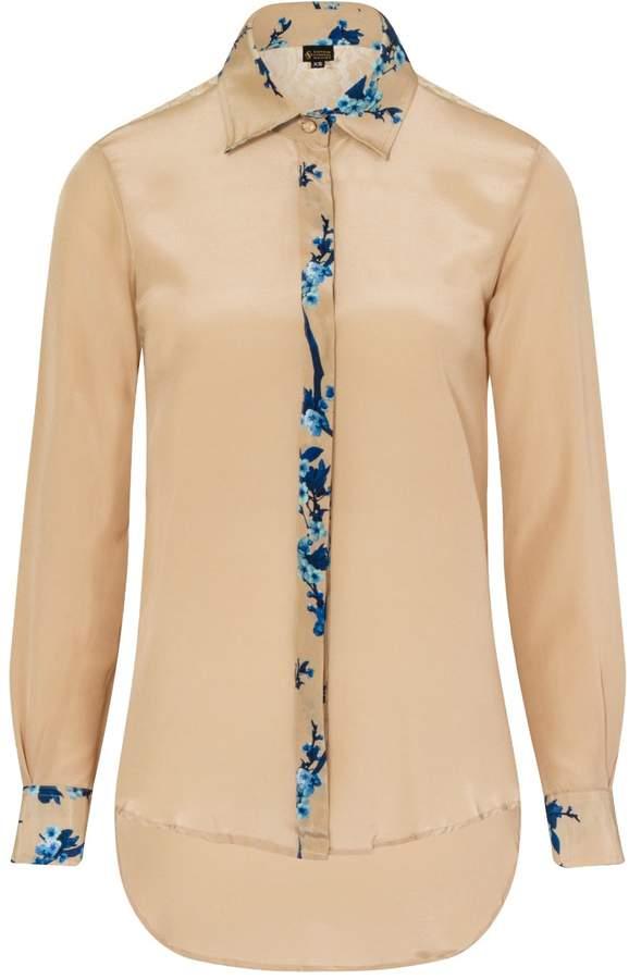 BEIGE Sophie Cameron Davies Printed Classic Silk Shirt