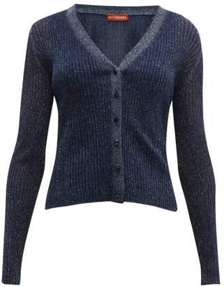 Altuzarra Jackson Glitter Rib-knitted Cardigan - Womens - Navy
