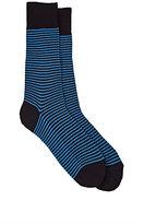 Barneys New York Men's Striped Mid-Calf Socks-NAVY