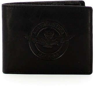 Aeronautica Militare Black Leather Men's Bifold Wallet