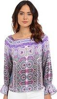 Nanette Lepore Women's Gypsy Top Blue/Purple Multi Blouse