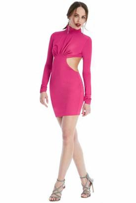 True Face Ladies Dress Plain Halter Neck Full Sleeve Cocktail Bodycon Open Back Women Midi Top Pink UK 10