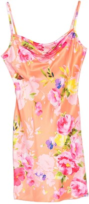 Bebe Floral Print Satin Cowl Neck Mini Dress