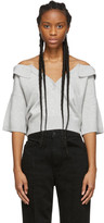 Alexander Wang Grey Wool Tulle Illusion Polo Sweater