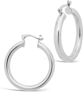 Sterling Forever Rhodium Plated Large Chunky Tube Hoop Earrings