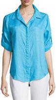 Joan Vass Button-Front Long-Sleeve Blouse, Calm Sea
